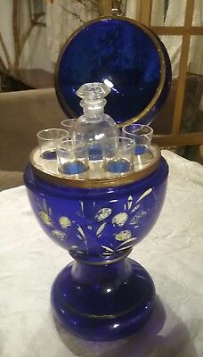 Original Victorian Czech Cobalt Blue Egg Cordial Decanter with Bottle & 5 cups