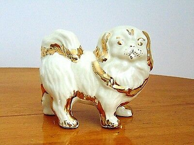 Vintage PEKINGESE Dog FIGURINE White Glazed With Gold Trim