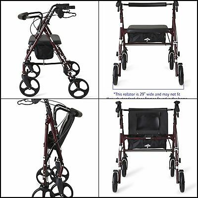 """Heavy Duty Bariatric Mobility Rollator with 8"""" Deluxe Wheels 500 lbs Capacity"""