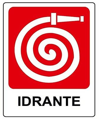 Cartello segnaletica idrante in alluminio 200X300 mm. Fire fighting system sign.