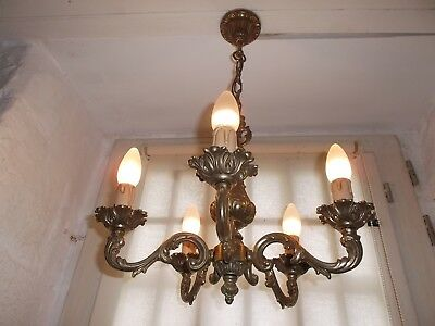French chandelier 5 lights ornate patina bronze beautifully  vintage