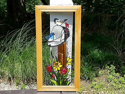 Stained Glass Window Panel Made in the USA Colorado Blue/Black&White Bird/Floral