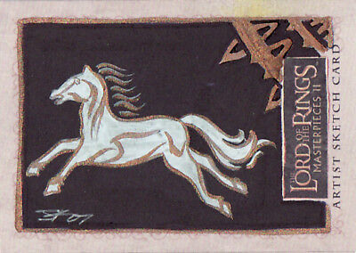 2008 Lotr Lord Rings Masterpieces 2 Sketch Card Jim Kyle Flag Of Rohan - Rare!!!