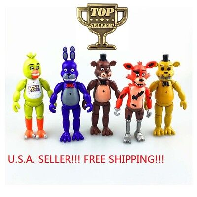 """FNAF Set of 5 Pcs Five Nights at Freddy's 6"""" Action Figures With Light Toys"""