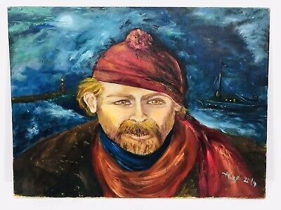 Nautical Scene Red Hair Sailor Boat Lighthouse Original Oil Painting Signed