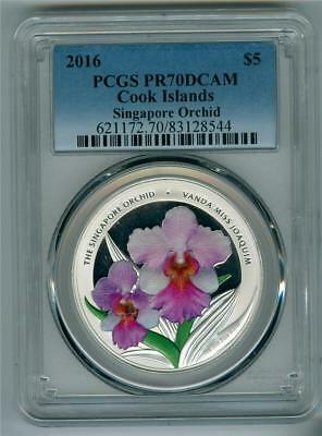 Cook Islands 2016 $5 1 oz. .999 silver Singapore Orchid colored PCGS PR-70DCAM