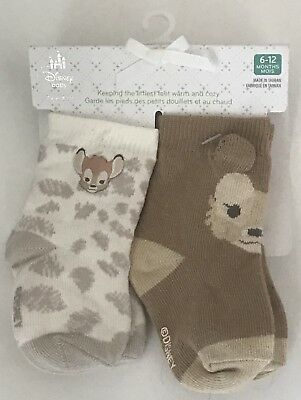 2 Pair Of Infant Baby Bambi Socks Disney Parks 0-6 Months Old