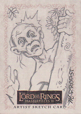 2008 Lotr Lord Rings Masterpieces 2 Sketch Card Mark Propst Gollum