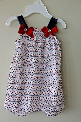 Little Lass Red White and Blue Star Romper size   months