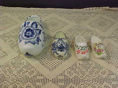 Dutch Shoe Lot of Four All Painted Differently 3 Small and 1 Large Wall Pocket