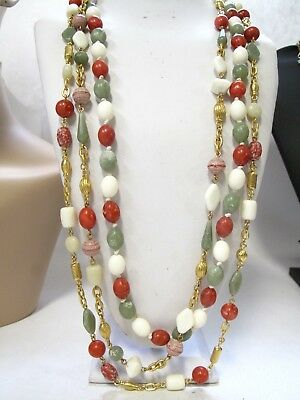 Vintage Monet Beaded Necklace Lot of Three Rust Cream Green Colors Gold Tone