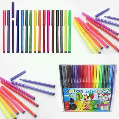 18 x Felt Type Pens Drawing Markers Painting Colouring Art School Non-Toxic