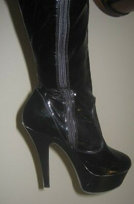 "Ladies Thigh High Black Pvc Boots, 6"" Heels, Sz 9"