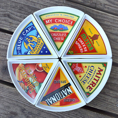 UK English Cheese Brand Triangle Serving Plate Dishes 6 Pie Shape Wedges Circle