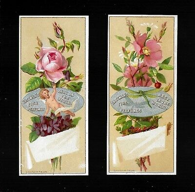 Dragonfly & Cherub On Floral Bouquets-2 Victorian Trade Cards/Bookmarks-Perfume
