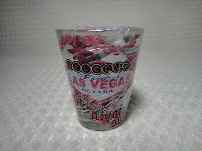 Las Vegas Girls Night Out Souvenir Shot Glass New Sealed With Poker Chip & Dice