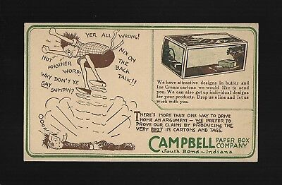 1929 Advertising Postcard for Campbell Paper Box Co. of South Bend, IN