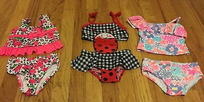 Lot Of 3 Girls Infant Bathing Suits (Size:12 Months )
