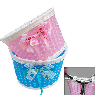 Bike Bowknot Front Basket Bicycle Cycle Shopping Flower Children Kids Girls