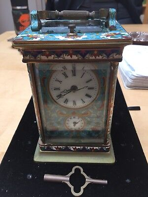 Chinese Vintage Bronze Champleve Enamel Travelers Clock