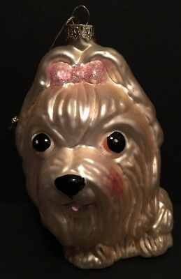 "Holiday Ornament YORKIE Blown Glass Dog Pet Yorkshire Terrier 5"" w/ Box"