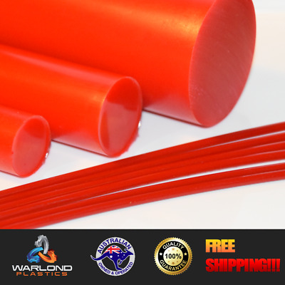 Polyurethane Rod Red 90A (50mm) Diameter x 245mm Long (Engineering Plastic)