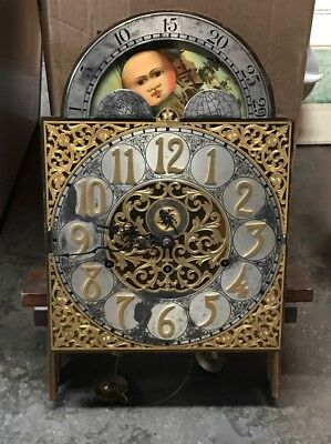 HERSCHEDE Grandfather CLOCK FACE Movement Only FIVE 5 Tube Parts Hands Dial