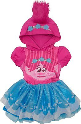 Trolls Poppy Toddler Girls' Costume Dress with Hood and Fur Hair, Pink and Blue