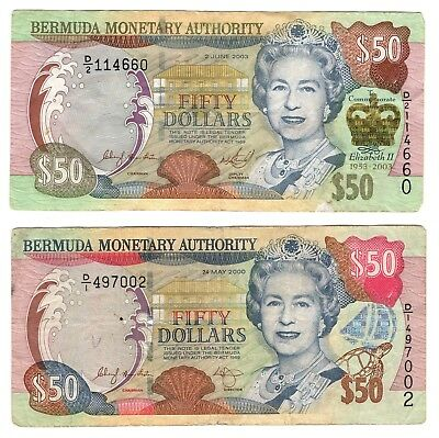2 Bermuda Monetary Authority Banknotes 2003 $50 Jubilee & 2000 $50 Fifty Dollars