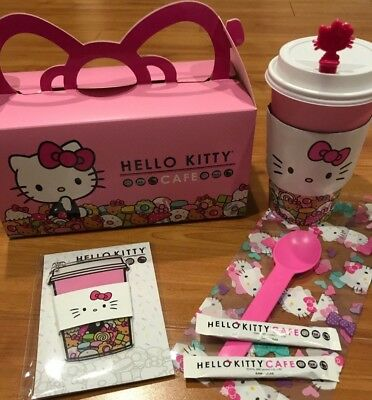 Hello Kitty Cafe Pink Plastic Sanrio Keychain,Paper Bag,Box,Sugar,Paper Cup