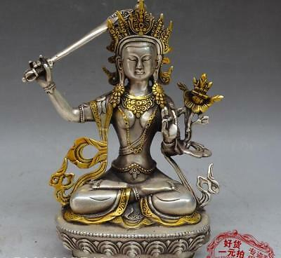 Nice Chinese Bronze Copper silvering Lotus guanyin