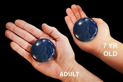 "Palm Stone Blue Aventurine 2 1/2"" Chakra Massage Polished Rock Mineral Specimen"
