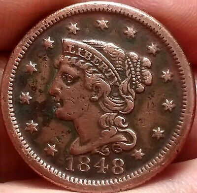 1848 Braided hair Large Cent Coin United States of America VF frankyd360 #ac639