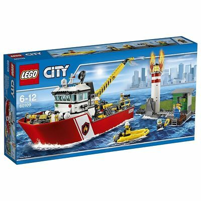 Lego City 60109 Fire Boat Toy Building Blocks Set With 5 Minifigures Ages 6-12