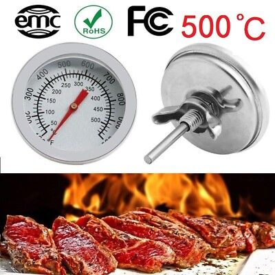 500°C Edelstahl Grillthermometer Backofenthermometer BBQ Gasgrill Thermometer DE