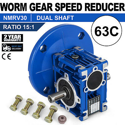 Worm Gear 15:1 63C Speed Reducer Gearbox Dual Output Shaft 0.38HP Local New