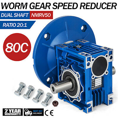 NMRV050 Worm Gear 20:1 80C Speed Reducer Gearbox Dual Output Shaft W/Flange New