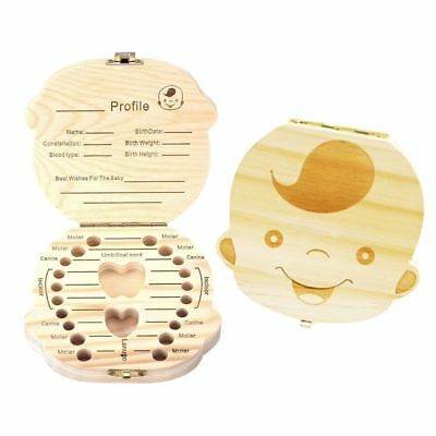 Baby Teeth Save Boxes Wooden Deciduous Souvenir Box, Baby Child Tooth Keepsake