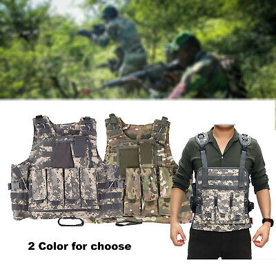 Military Airsoft Molle Combat Tactical Vest Waistcoat MutiPocket Army Hunting