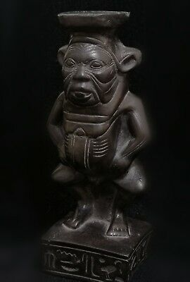 Rare Ancient Antique Egyptian Basalt Stone Statue Of God Bes  664 - 332 Bc