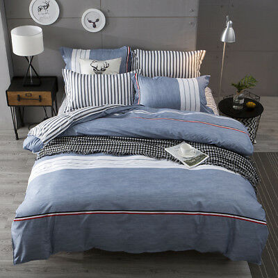 Grey Striped Bedding Set Doona Duvet Cover Quilt Cover Single Queen King Size