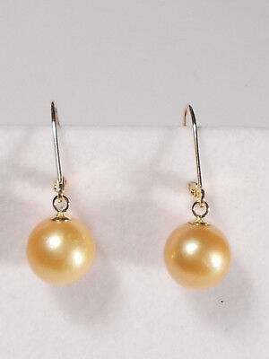 9.5mm South Sea golden pearl dangle earrings, solid 14k yellow gold.