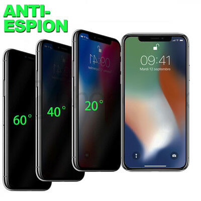 FILM VITRE PROTECTION ÉCRAN VERRE TREMPÉ ANTI ESPION IPHONE X 8 7 Plus 6S Plus