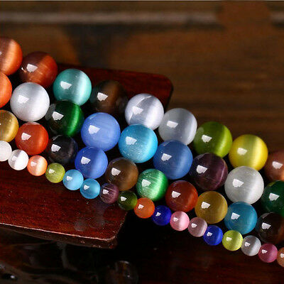 New 50Pcs Cats Eye Gemstone Round Spacer Loose Bead Jewelry Findings Crafts 8MM