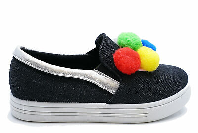 Girls Childrens Black Slip-On Pom-Pom Canvas Plimsolls Pumps Kids Shoes Sizes 8-