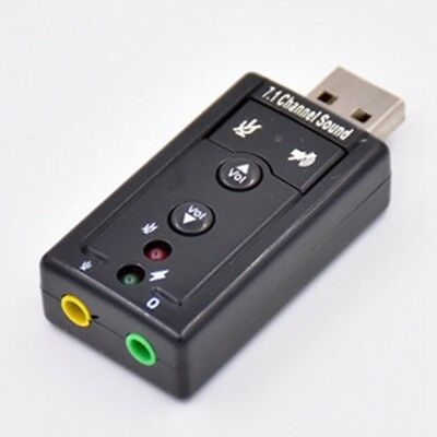 USB PC Laptop To Mic Speaker Headphone 7.1 Channel 3D Audio Sound Card Adapter