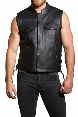 Men's Real Leather SOA Style Motorbike Cut Off Biker Laced Up With Zip Pockets