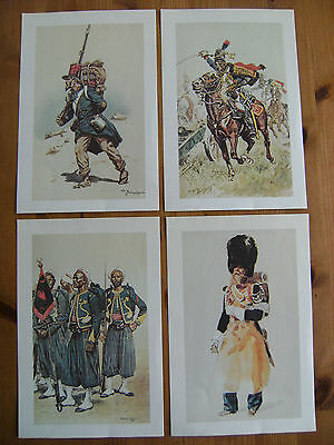 Four Reproduction Prints Of Historic French Military Units