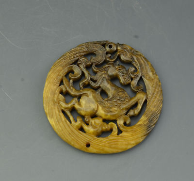 Excellent China Ancient Jade Hollow Carved Dragon And Horse Bi Amulet Pendant