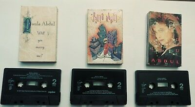 Vintage Paula Abdul Cassette Tape Lot of 3 Opposites Attract Cold Hearted Marry